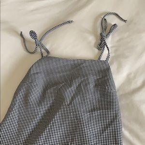 gingham square neck dress